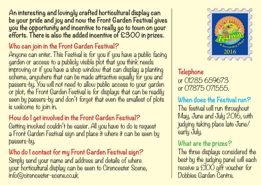 Front Garden Festival Postcard. Reverse